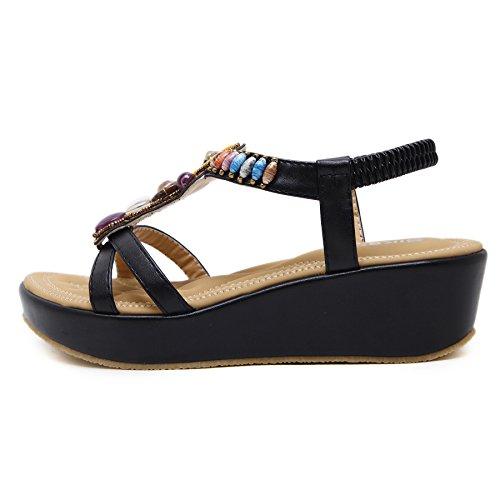 Plataforma skt Negro De Mujeres Tamaño Sandalias Grande Zapatos toe Peep Simple Bohemios Con La Verano Cuentas Suetar Playa Del Las Manera 0xqdwRBB