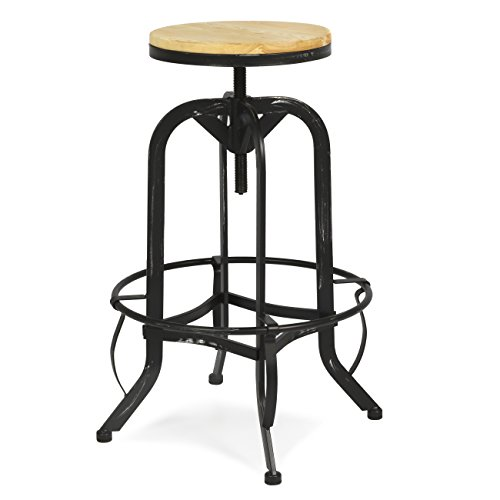 Best Choice Products Vintage Bar Stool Industrial Metal Design Wood Top Adjustable Height Swivel