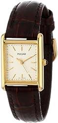 Pulsar Women's PTC386 Gold-Tone Brown Leather Strap Watch
