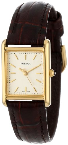Pulsar Women's PTC386 Gold-Tone Brown Leather Strap Watch (Crocodile Square Watch)