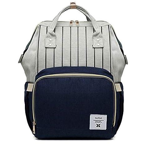 Bolso de pañales multifuncional para viajar con el bebé, impermeable y de gran capacidad, diseño bonito y duradero azul azul oscuro: Amazon.es: Bebé