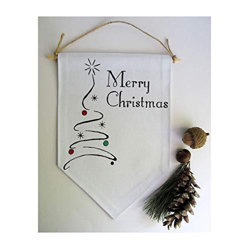 Merry Christmas Door Sign/Christmas Tree Wall Art/Christmas Wall Hanging/Christmas Tree Decoration/Xmas Art/Christmas Tree Sign ()