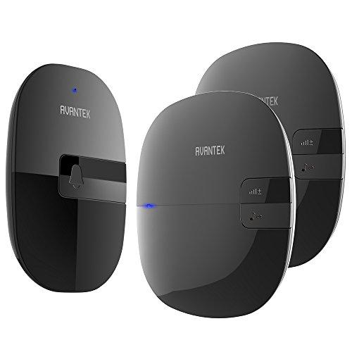 Wireless Doorbell, AVANTEK Waterproof Chime Kit, Operating at 300 Meters, 2 Plug-in Receivers, 36 Melodies to Choose From, 4 Volume Levels, Black (NDB) by AVANTEK