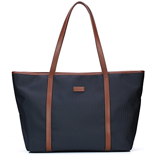 Let It Be Basic Large Travel Tote Shoulder Bag for Women In Blue + Brown