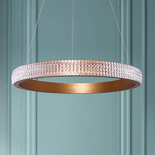 Leniure Modern Gold Circular LED Light Pendant Lamp Chandelier Lighting Fixture 16 Wide 1.6 High, Warm White 3000K