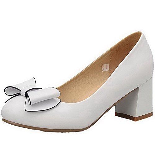 VogueZone009 Damen Rein Weiches Material Hoher Absatz Ziehen auf Pumps Schuhe, Weiß, 34