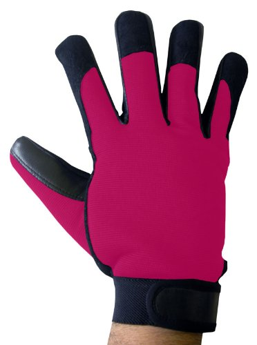 Boss Tech Products, Inc. BTP-GLV-MECPNK Mechanic's Style Touch Screen Gloves for All Touch Screen Electronic Devices - Retail Packaging - Black/Pink