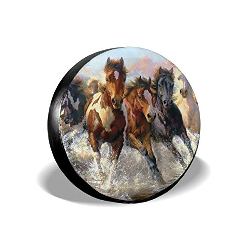 Spare Tire Covers Horses Waterproof Dust-Proof Sun Protectors Universal Wheel Cover Fit for Jeep,Trailer, RV, SUV and Many Vehicle 14