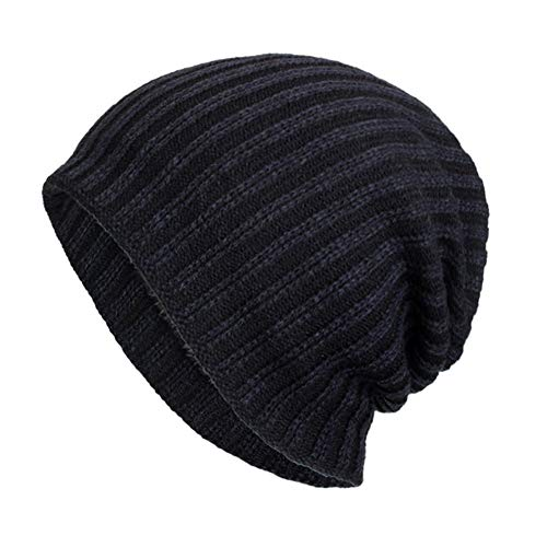 CHIDY Men Warm Baggy Weave Crochet Winter Wool Solid Color Vertical Cycling Travel Hat Beanie Skull Caps Hat