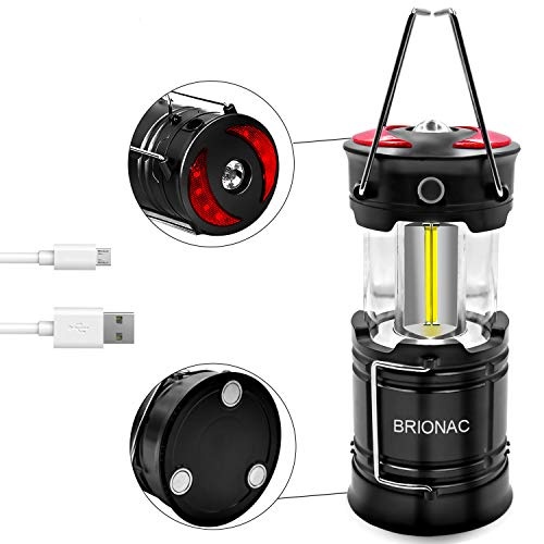 Brionac Rechargeable LED Camping Lantern, Magnetic COB Lantern Flashlight 2 Power Supply Modes Survival Kit for Emergency, Hurricane, Power Outage