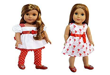 8fdd15ea95 Image Unavailable. Image not available for. Color  Brittany s My Valentines  2 Pack Satin Outfits Compatible with American Girl Dolls-18 Inch Doll