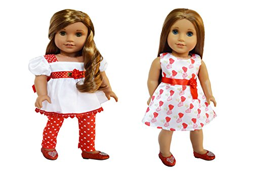 My Brittany's Valentines 2 Pack Satin Outfits for American Girl Dolls-18 Inch Doll Clothes