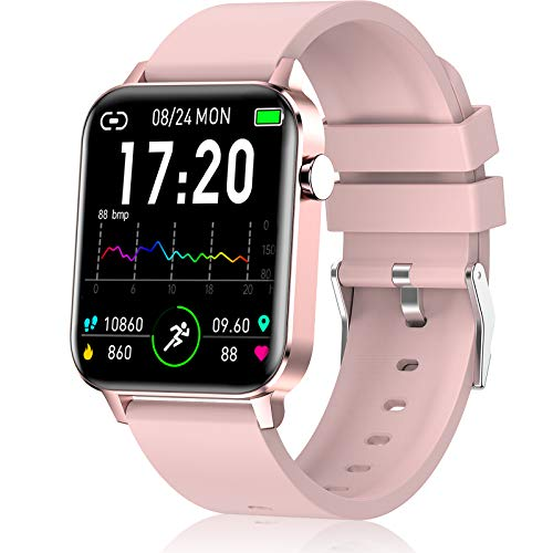 andfive Smart Watch, Fitness Tracker for Women, IP68 Waterproof Smartwatch with Pedometer, 1.4″ Full Touch Screen Activity Tracker with Heart Rate and Sleep Monitor, Fitness Watch Pink Aluminum case