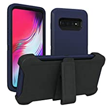 Galaxy S10 Case, ToughBox [Armor Series] [Shock Proof] [Navy | Black] for Samsung Galaxy S10 Case [with Holster & Belt Clip] [Fits OtterBox Defender Series Belt Clip Phone Cover]