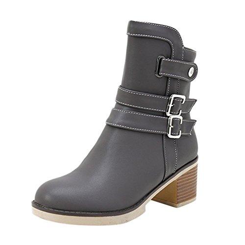 heels Reißverschluss Stiefel Shoes Plateau chunky Mee Grau Damen 8IqgxOwt