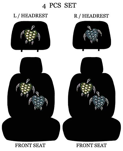 (ALLBrand Car Truck Universal Fit Front 4-Piece Full Set Crystal Bling Rhinestone Studded Low Back Front Bucket Seat Covers with Separate Headrest Covers (Love Turtle))