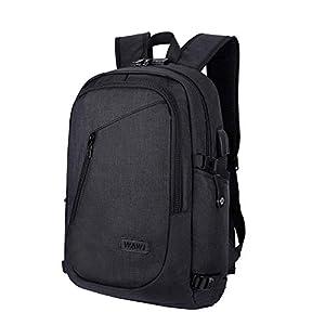 WAWJ Mochila antirrobo Impermeable, Mochila para portátil Multiusos Daypacks con Puerto de Carga USB (Negro) 41WomFJhGtL
