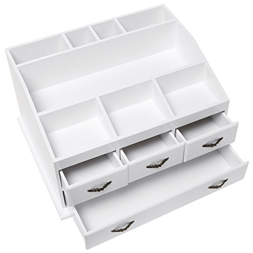 Shabby Chic White Wood 8 Trays 4 Storage Drawers Jewelry Import It All