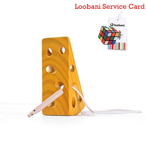 LOOBANI Montessori Activity Wooden Baby and Kids Cheese Toys Toddler Travel Lacing Game for Plane Car, Children Early Learning Educational Wood Block Puzzles, Suitable for Boy/Girl Above 36 Month