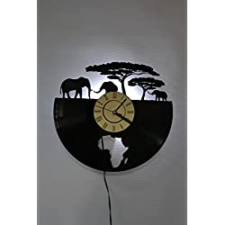NICE STUFF ONLY African Safari Design Wall Light Clock - Original Home Interior Décor - Wall Clock - Perfect Gift for Him and Her (White)