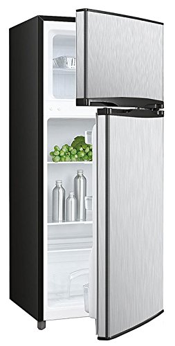 (Avanti RA45B3S 4.5 Cu. Ft. Two Door Deluxe Refridgerator with Freezer, Stainless Steel Front and Black Sides)