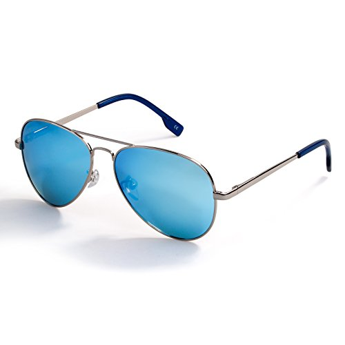 COLOSSEIN Classic Aviator Style Polarized Sunglasses for Men Women Metal Frame Blue Mirrored Lens Glasses,FDA Standard 100% UVA/UVB Protection