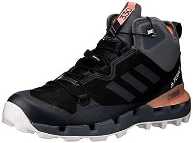 adidas Australia Women's Terrex Fast Mid GTX-Surround Hikings Boots, Core Black/Grey/Chalk Coral, 5 US