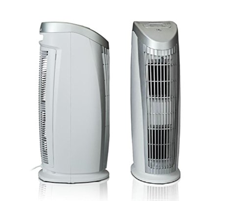 Quality! Compact! Power! For life! Alen T500 Tower Air Purifier HEPA-Silver Filter, 500 Sq. Ft., in Silver & White by Alen