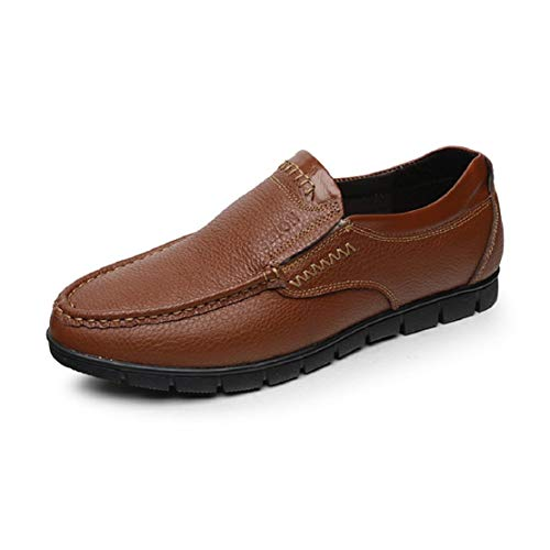 Men's Slip On Leather Shoes Non-Slip Round Toe Stitch Driving Loafers for Men Penny Shoes Comfort Walking Shoes by Lowprofile Yellow