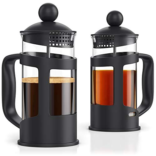 French Press Coffee Maker – Set of 2 pcs in Gift Box – 12oz French Press Coffee Tea Maker – 2 Cup Capacity – by Meshberry