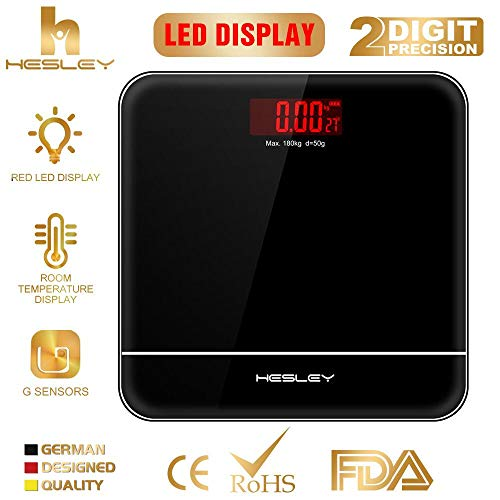 HESLEY Weighing Scale Machine with Advanced Step on Technology (Black)