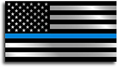 """Thin Blue Line Police American Flag Logo 3"""" X 4"""" Decal Sticker Made In USA"""