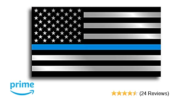 TWO Sticker 2 Thin Blue Line American Flag Distressed Police Vinyl Decal Pack