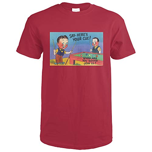 Two Cartoon Men Play Pool, Here's Your Cue 13335 (Cardinal Red T-Shirt XX-Large) (Cardinals Pool Cue)