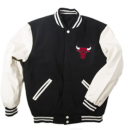 J.H. Design JH Design Men's BUL953VRS6 Chicago Bulls Hooded Reversible Varsity Jacket - Black/Cream - - Jacket Varsity Reversible Leather Faux