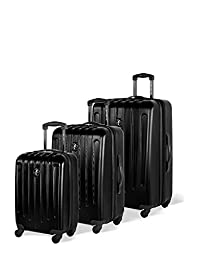 Atlantic Aero Glide Collection - 3 Piece Spinner Luggage Set, Black, Checked – Large