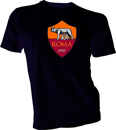 A.S. Roma Giallorossi Italy Serie A Football Soccer T-Shirt Men's Black 4XL by Great Tees