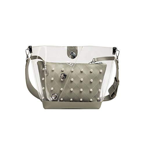 Fashion Lady Transparent Pearl Chain Diagonal Cross Handbag Shoulder Bag Small Bag Letter Package