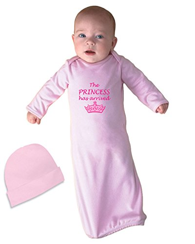 The Princess Has Arrived Infant Baby Rib Layette Sleeping Gown Soft Pink Gown & Hat Set ()