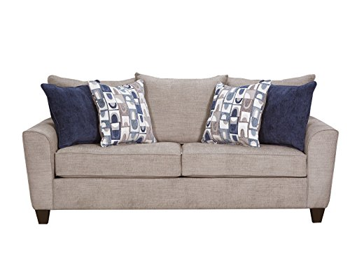 Simmons Upholstery 9096-04Q Alamo Grey Sleeper Sofa, Queen, Gray ()