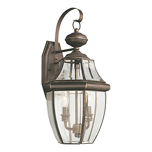 Elegant Bound Glass Lighting - Sea Gull Lighting 8039-71 Lancaster Two-Light Outdoor Wall Lantern With Clear Curved Beveled Glass Panels, Antique Bronze Finish