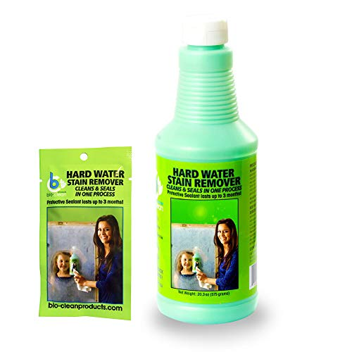 Bio Clean: Eco Friendly Hard Water Stain Remover (20oz Large)- Our Professional Cleaner Removes Tuff Water Stains From Shower doors, Windshields, Windows, Chrome, Tiles, Toilets, Granite, steel e.t.c -