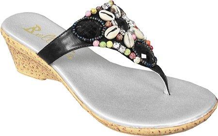 Bellini Dames Kona Comfort Stringband Mode Sandalen Zwart