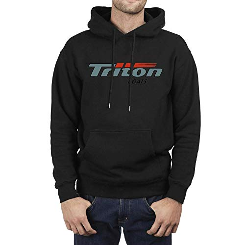 Triton Boats Mens Black Hooded Sweatshirt Heavy Blend Kangaroo Pocket Wool Warm Pullover Suit