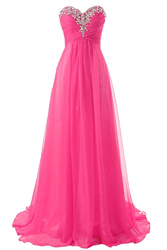 JAEDEN Prom Dress Bridesmaid Dresses Long Chiffon Formal Evening Gown A line Hot Pink US14