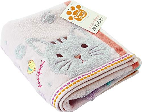 우치노(UCHINO) 페이스 타올 핑크 고양이 약34×75cm 모찌 9006F704 P