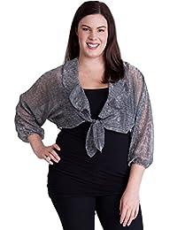 Woman Plus Size Sheer Metallic Self Tie Front Crop Cardigan, Multiple Colors