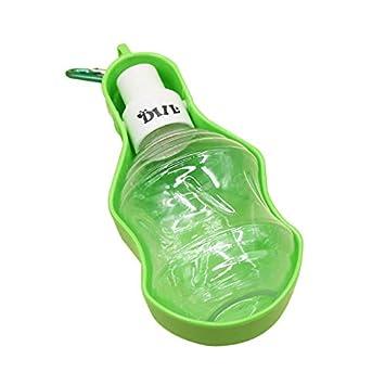 UEETEK Botella Dispensador de Agua con Comedero Plato Tazon Agua para Perro Gato Mascota 250ML (