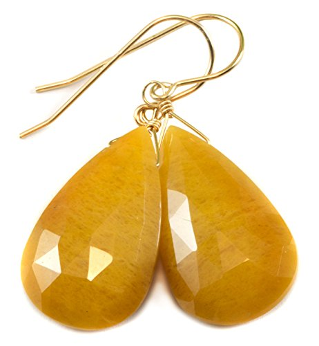 14k Gold Filled Aventurine Earrings Large Fat Faceted Teardrop Long Drops Yellow Orange ()