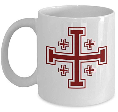 (Knights Templar coffee mug - Jerusalem cross symbol - heraldic Christianity gift cup - Masonic accessories - Sold only by Saroth design)